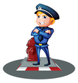 A smiling policeman at the street vector image vector image