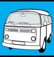 black and white campervan vector image
