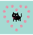 Cat inside paw print heart frame Flat design vector image