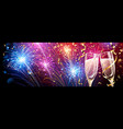 colorful fireworks with champagne and confetti vector image