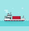 small cargo ship floating on ocean vector image
