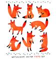 Watercolor Foxy set vector image