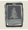 christmas tree on tablet device vector image