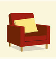 red luxury chair with yellow pillow luxury sofa vector image