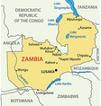 Republic of Zambia - map vector image