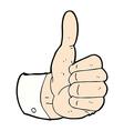 comic cartoon thumbs up symbol vector image
