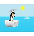 Penguin with umbrella vector image