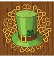 Colorful St Patricks Day hat with clover and vector image