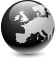 europe silhouette on gray globe vector image