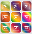 hang-gliding sign icon Nine buttons with bright vector image