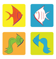 monochrome icon set with fish vector image