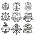 set of yacht club labels nautical design elements vector image