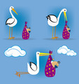 Stork flying with baby 2 vector image