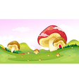 Big and small mushrooms vector image vector image