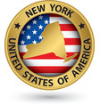 New York state gold label with state map vector image
