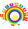 Alphabet train with raindow and clouds vector image