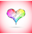 Rainbow heart with curly pattern inside vector image