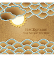vintage background with sea clouds and sun on card vector image vector image