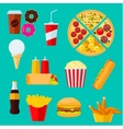 Fast food sandwiches desserts and drinks icon vector image