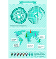 Infographics elements with world map vector image vector image
