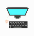 computer mouse with keyboard and monitor icon vector image