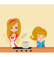 Daughter helps mother cook soup vector image