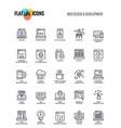 flat line icons design-web design and development vector image