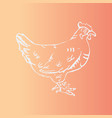 hand-drawn hen engraving stencil style vector image