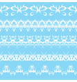 set of white lace edging ornaments on a blue backg vector image
