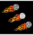 Volleyball ball flaming logo designs vector image