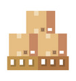 wooden pallets warehouse with boxes vector image