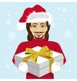 young man giving christmas gift to you vector image