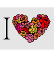 I love roses Heart of flowers vector image