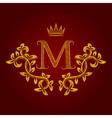 Patterned golden letter M monogram in vintage vector image