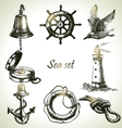 Sea set of nautical design elements Vector Image
