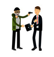 masked thief character stealing briefcase from vector image