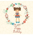 Cute Happy Birthday card with happy girl in floral vector image vector image
