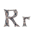 Low poly letter R in brown mosaic polygon vector image