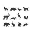 Wild animals black silhouette and wild animal vector image