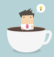 businessman thinking in a coffee cup vector image