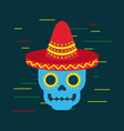 day of the dead blue skull with mexican hat vector image