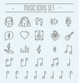 music festival thin line icons set vector image