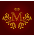 Patterned golden letter M monogram in vintage vector image