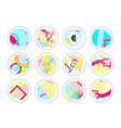 set of decor elements and stickers with geometric vector image