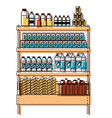supermarket shelf with foods and beverages in vector image