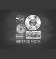 vintage media on chalkboard vector image