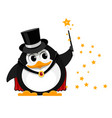 young penguin magician cartoon image of a small vector image