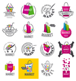 large set of logos for market vector image vector image