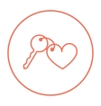 Trinket for keys as heart line icon vector image