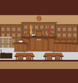 court of law hall with wooden furniture vector image